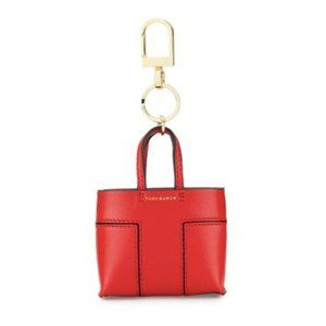 Tory Burch Tote Bag Key Ring Keychain Red Leather